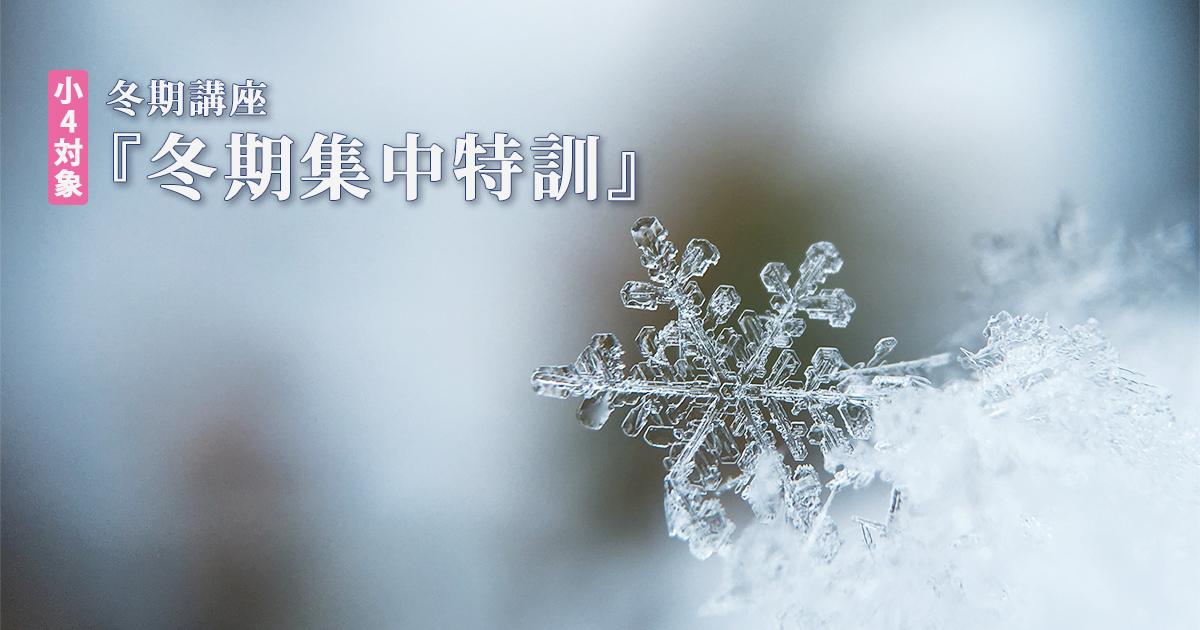 〈小4対象〉『冬期集中特訓』 詳細はこちら
