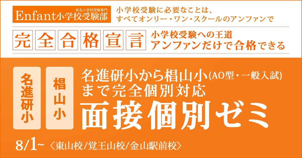 椙山AO型・一般入試のための面接個別ゼミ 〜小学校受験への王道アンファンだけで合格できる〜