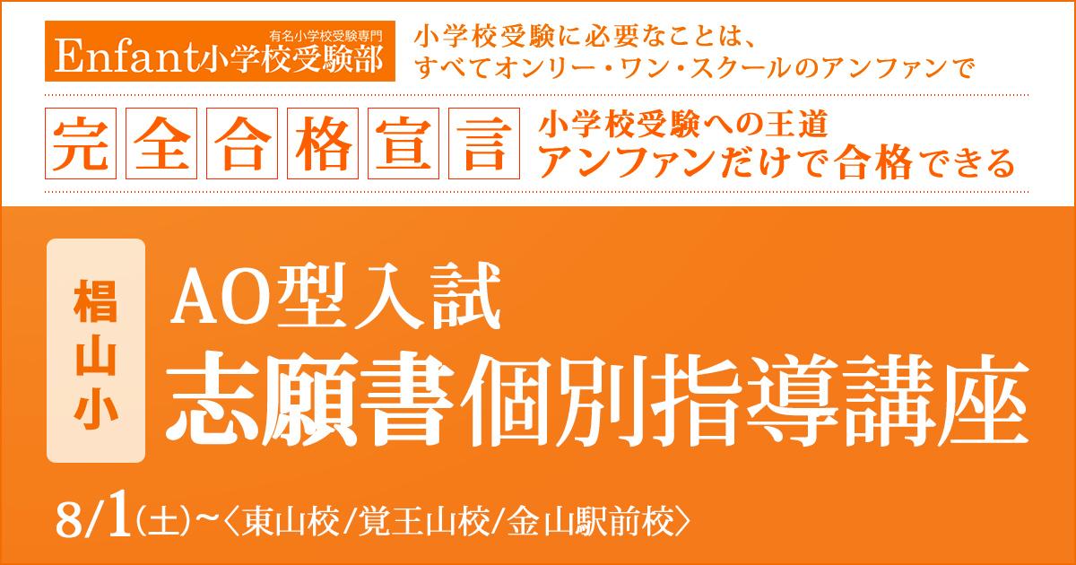 椙山小AO型入試 志願書個別指導講座 〜小学校受験への王道アンファンだけで合格できる〜